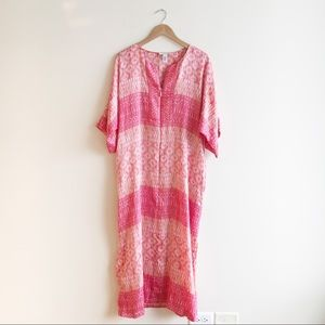 Oscar de la Renta Pink Tribal Silky Maxi Dress